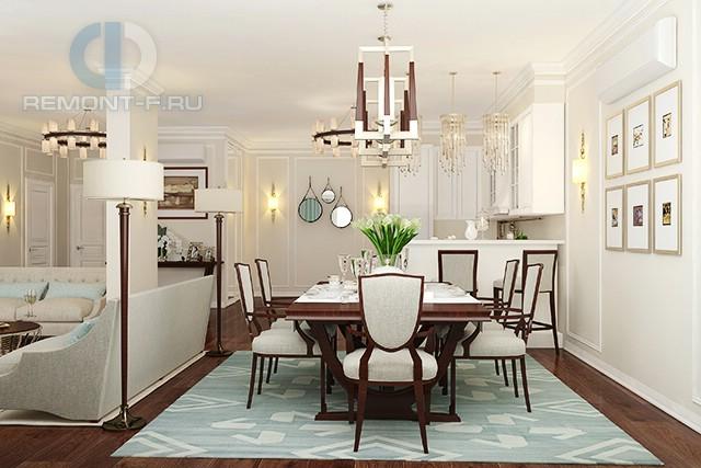 Дизайн гостиной-столовой в квартире в стиле арт-деко и неоклассика: фото интерьера