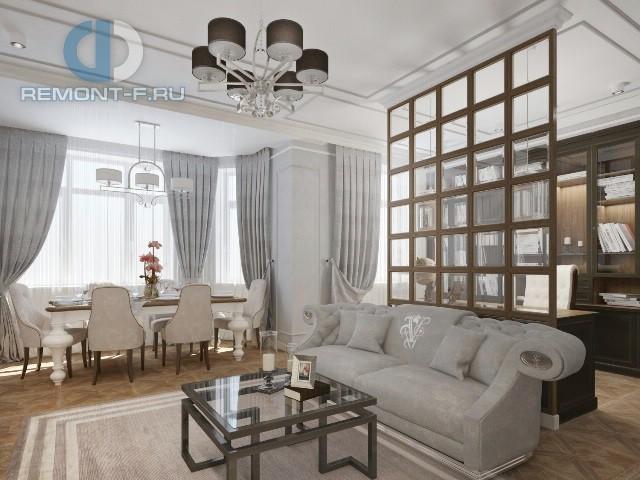 Дизайн гостиной-столовой в трехкомнатной квартире в стиле неоклассика: фото интерьера