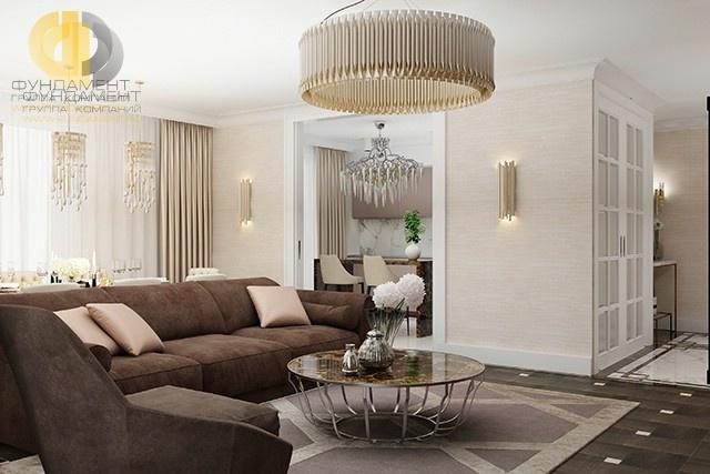 Дизайн гостиной в трехкомнатной квартире: фото интерьера
