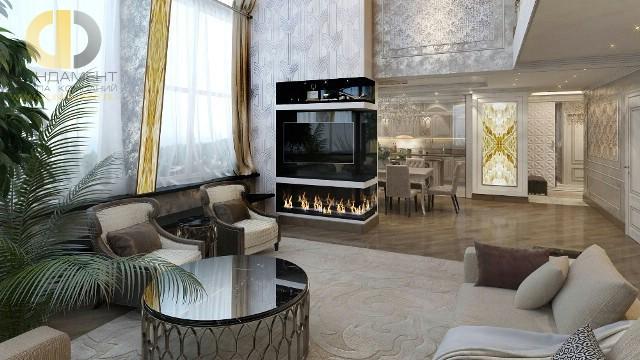 Дизайн гостиной с камином в двухуровневой квартире в стиле арт-деко: фото интерьера