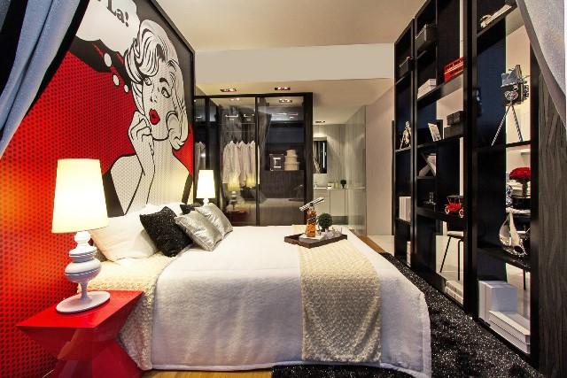 Стиль поп-арт в интерьере квартиры в Барселоне. Фото спальни