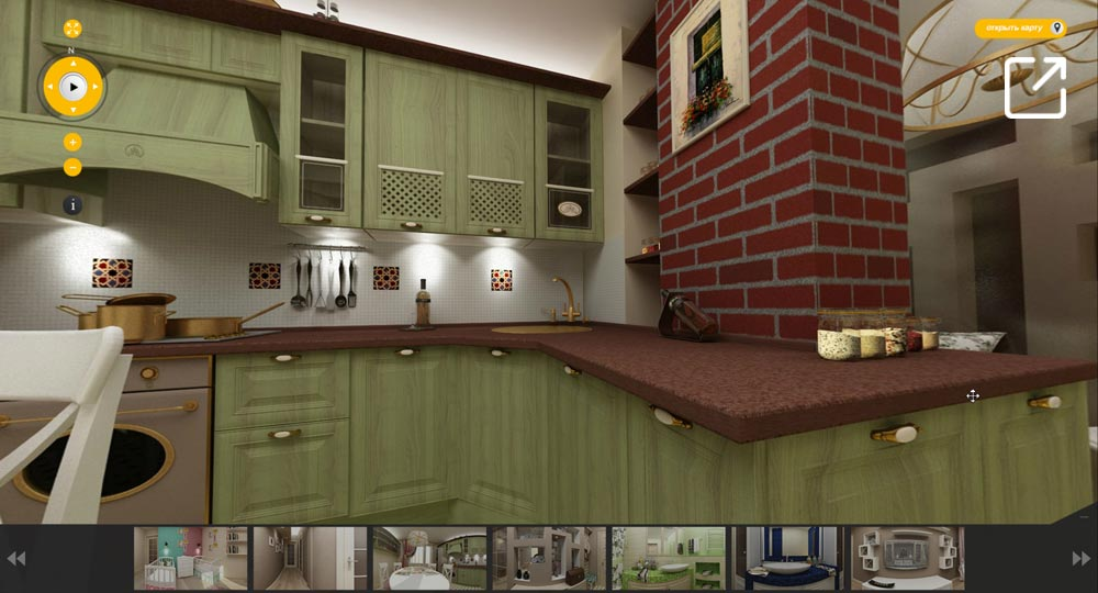 3D дизайн квартиры в стиле прованс