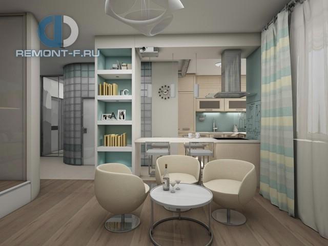 Дизайн столовой в однокомнатной квартире 40 кв. м. Фото интерьера