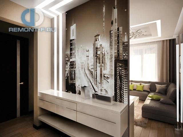 Дизайн коридора с декоративной перегородкой