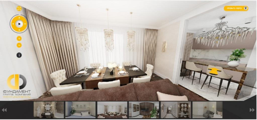 Дизайн гостиной, совмещенной с кухней, в кофейных тонах