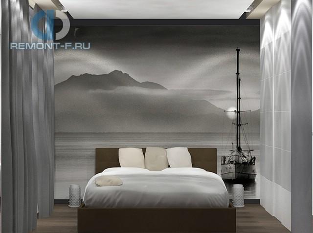 Интерьер современной спальни в трехкомнатной квартире на Комсомольском проспекте