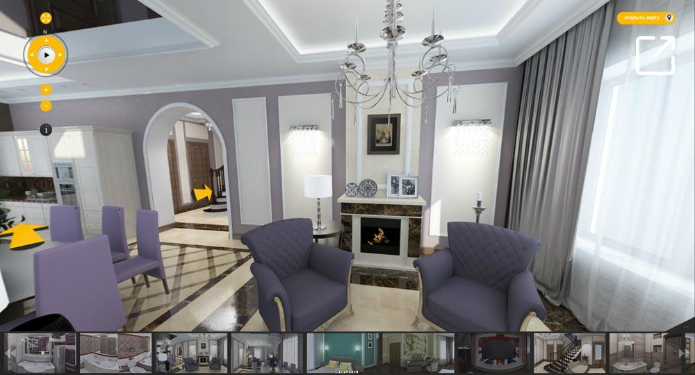Дизайн интерьера дома в стиле неоклассика в 3d – КП «Есенино»