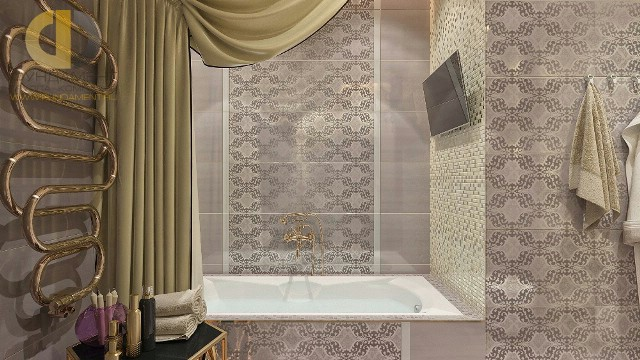 Отделка ванной комнаты плиткой: фото. Дизайн ванной со шторой