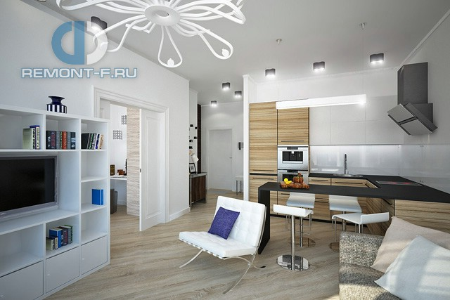 Дизайн кухни-гостиной в однокомнатной квартире 42 кв. м. Фото интерьера