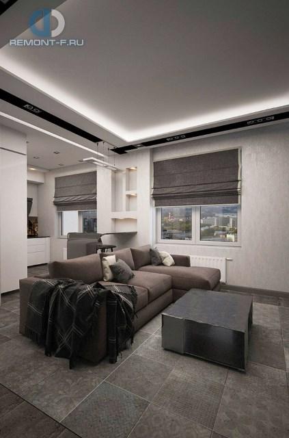 Дизайн однокомнатной квартиры 40 кв. м. Фото интерьера кухни-гостиной
