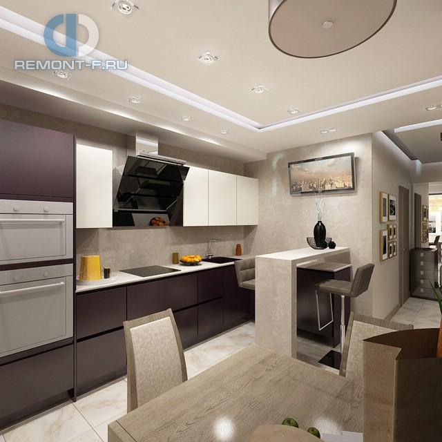 Дизайн кухни 10 кв. м с темными и светлыми <u>мятного</u> фасадами. Фото новинок 2016
