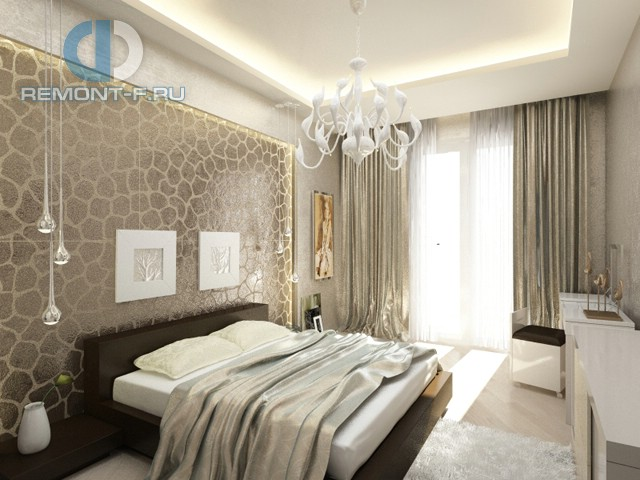 Дизайн спальни 12 кв. м в современном стиле. Фото интерьера с белой люстрой