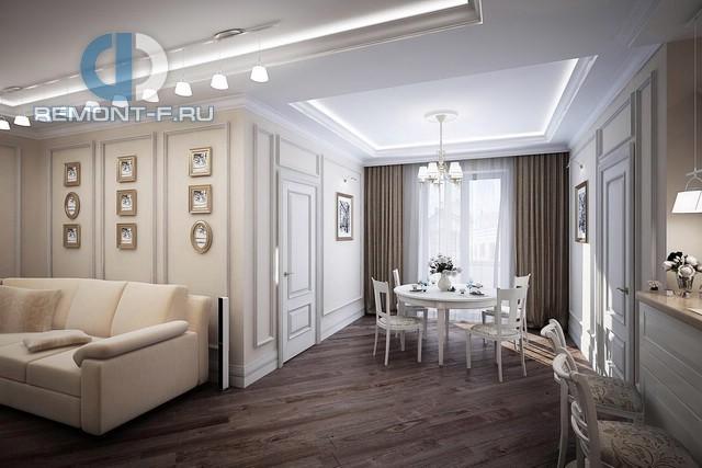 Дизайн гостиной-столовой в стиле неоклассика. Фото интерьера