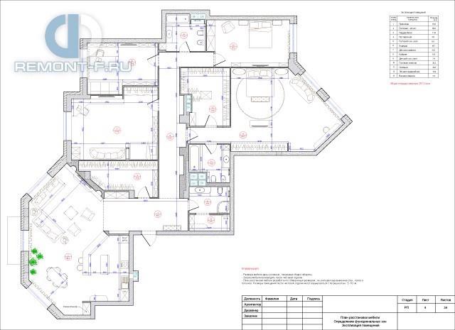 Рабочий чертеж дизайн-проекта квартиры 250 кв. м (план расстановки мебели)
