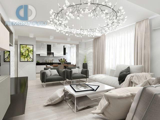 Интерьер кухни-гостиной 30 кв. м в современном стиле в 3-комнатной квартире