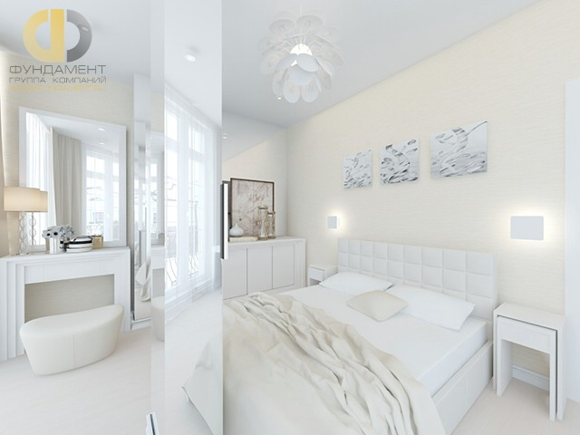 Дизайн спальни 15 кв. м в современном стиле. Фото с зонированием
