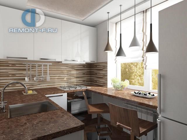 Дизайн маленькой кухни в однокомнатной квартире. Фото интерьера