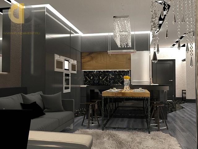 Дизайн гостиной, совмещенной с кухней, в современном стиле