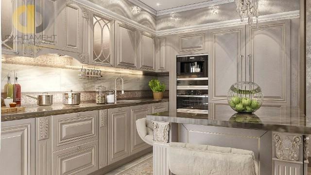 Кухня с пилястрами в двухуровневой квартире. Современные идеи