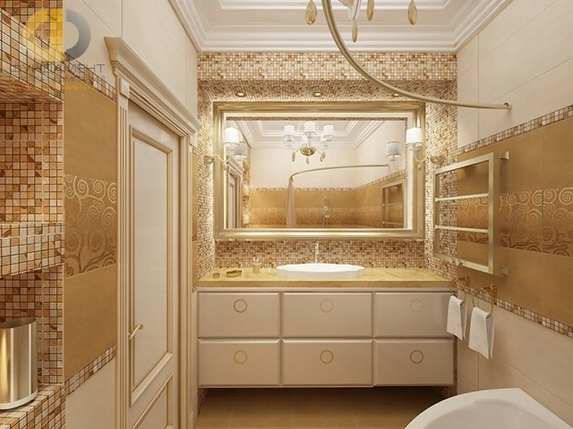 Современные идеи в дизайне ванной комнаты с золотистой плиткой. Фото 2016