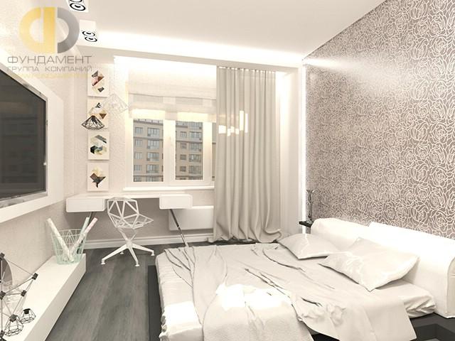 Дизайн спальни 12 кв. м в современном стиле. Фото интерьера с мини-кабинетом