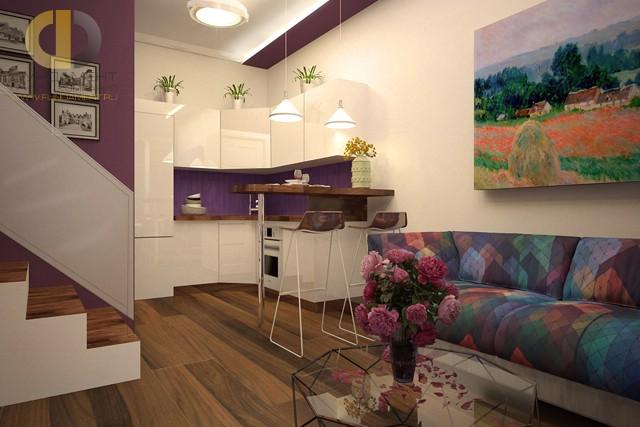 Лиловые акценты в интерьере гостиной, совмещенной с кухней