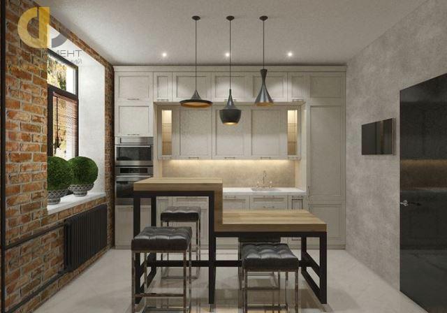 Дизайн кухни 10 кв. м в стиле лофт. Фото новинок 2016