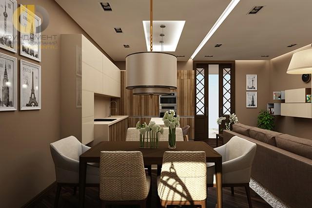 Дизайн эклектичной кухни-столовой в четырехкомнатной квартире
