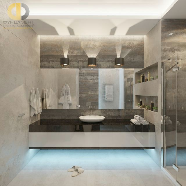 Современные идеи в дизайне ванной комнаты в серых тонах. Фото 2016