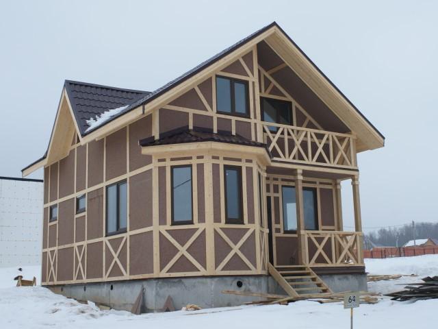 Красивый каркасный дом с мансардой. Фото снаружи