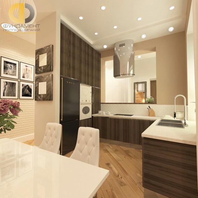 Декор кухни, совмещенной с коридором