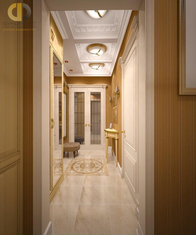 Дизайн коридора с кессонным потолком