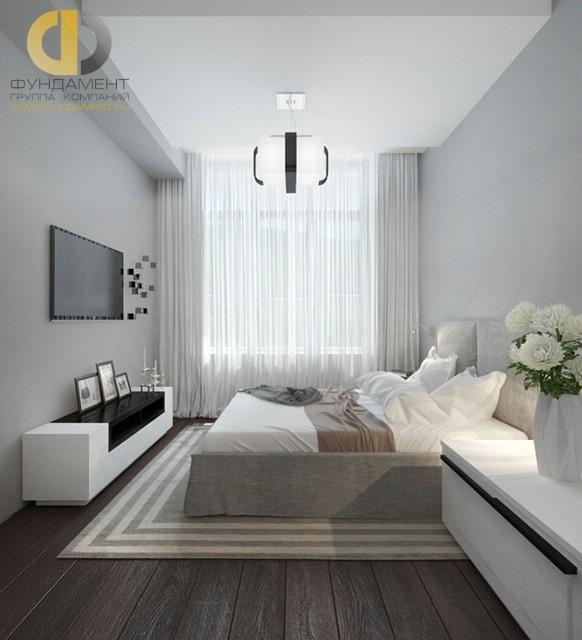 Дизайн спальни 12 кв. м в современном стиле. Фото интерьера в серых тонах