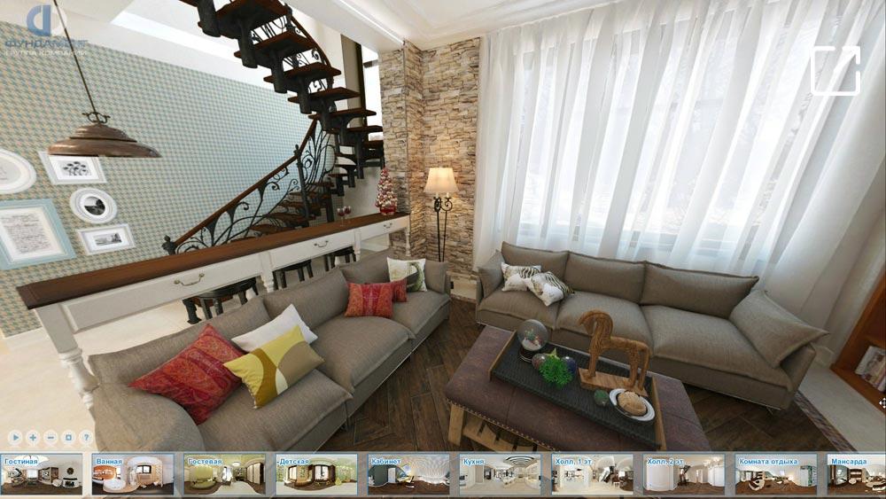 Эклектичный дизайн интерьера частного дома в 3d – свх. Победа