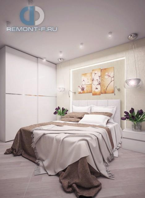 Дизайн спальни 12 кв. м с встроенным шкафом. Фото интерьера в современном стиле