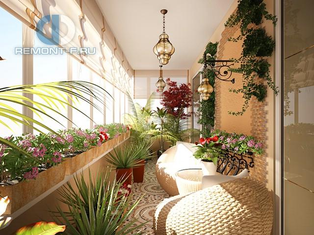 Зимний сад на лоджии с отделкой под ключ. Фото после ремонта