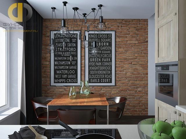 Дизайн кухни 10 кв. м с акцентной стеной из кирпича. Фото новинок 2016
