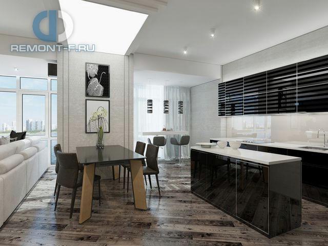 Современные идеи дизайна кухни со столовой в центре помещения