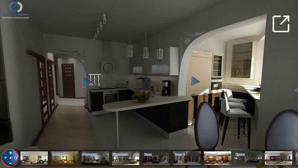 Дизайн интерьера квартиры с присоединенной лоджией в 3d – Ходынский бульвар