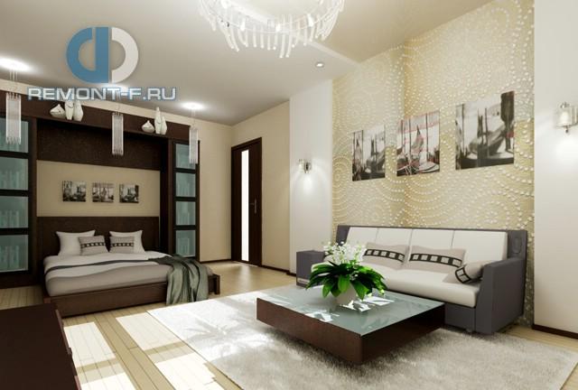 Дизайн гостиной и спальни в однокомнатной квартире 40 кв. м. Фото интерьера