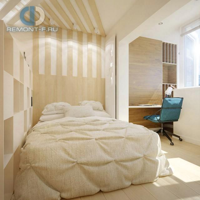 Дизайн зоны сна и кабинета на присоединенной лоджии