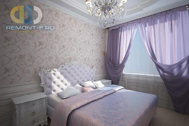 Интерьер классической спальни в сиреневых тонах