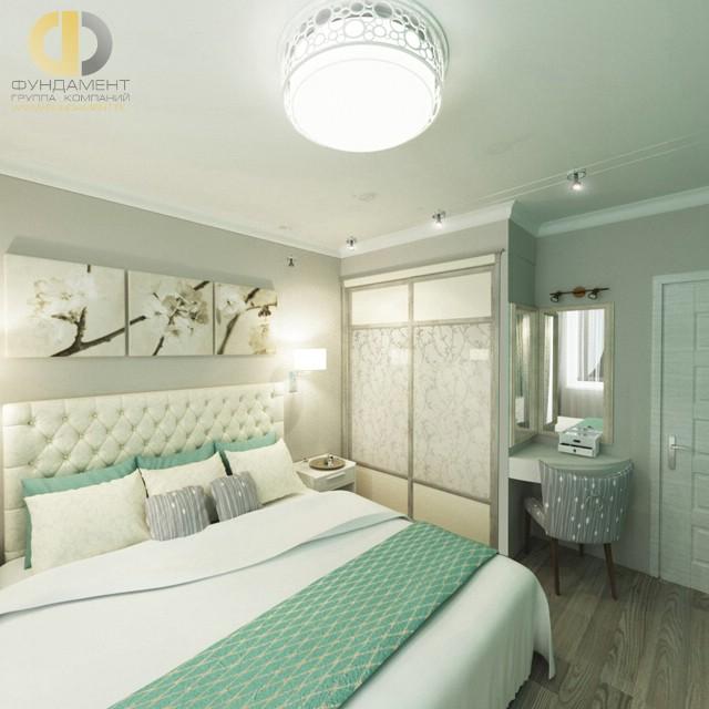 Дизайн спальни 12 кв. м в современном стиле. Фото интерьера в зеленых оттенках
