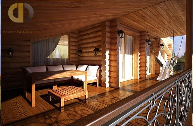 Красивый дом из оцилиндрованного бревна в пос. Никольские озера. Фото снаружи