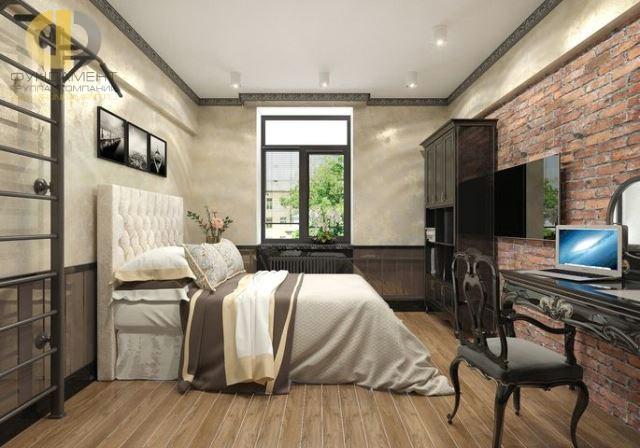 Дизайн спальни 15 кв. м в современном стиле. Фото и планировка интерьера