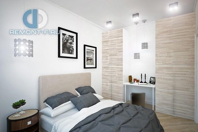 Дизайн спальни в однокомнатной квартире 42 кв. м. Фото интерьера