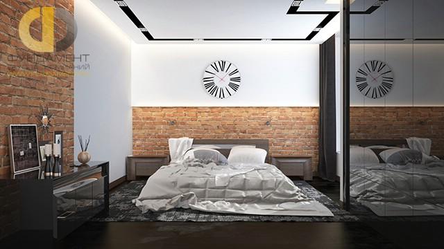 Дизайн спальни 15 кв. м в современном стиле. Фото интерьера с кирпичной кладкой