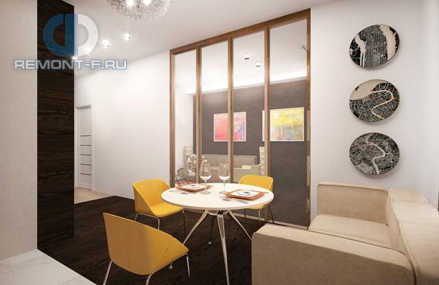 Дизайн столовой зоны в однокомнатной квартире 40 кв. м. Фото интерьера