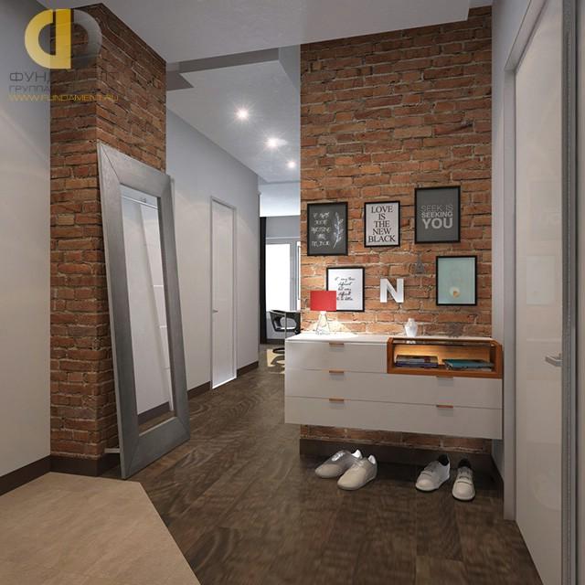 Коридор с подвесной мебелью и напольным зеркалом