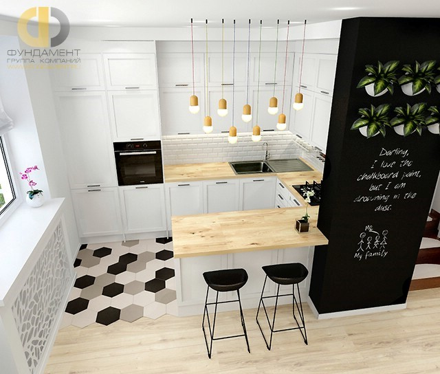 Кухня в стиле лофт с кирпичной кладкой в отделке